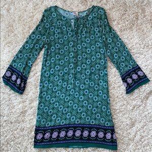 Alya Green Patterned Long-sleeve Dress